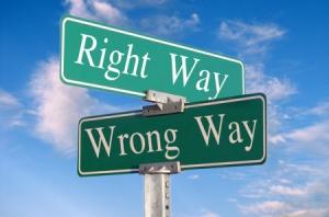 Discipline - right wrong way sign