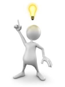 idea bulb over clay cartoon