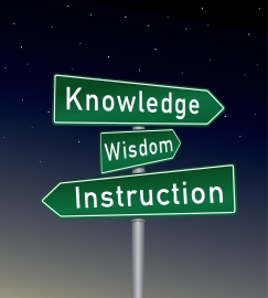 Directional Road signs three wisdom intelligenve and knowledge