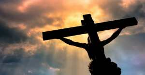 jesus on cross looking up